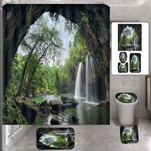 3D водопад вид лесной пейзаж ванной набор ванной комнаты водонепроницаемый волокна душевая занавеска противоскользящая баня коврик для ванны набор туалетной крышки туалета ковер 201127