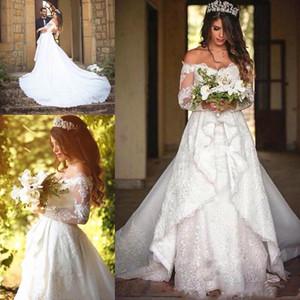 Vintage Full Lace Wedding Dresses with Overskirt Long Sleeve Off the Shoulder Appliqued Lace Mermaid Bridal Gowns Dubai vestido de noiva