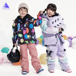 Girls Ski Suit Waterproof Kids Ski Jacket Pants High Quality Winter Warm Clothing Outdoor Hooded Suit -30 Degree