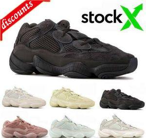 Top Reflective Desert Rat 500 Kanye West Designer Shoes Stone Bone White Soft Vision Mens Women Running Sneakers Utility Black Salt Trainers