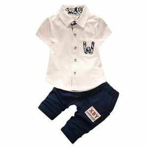 Sommer-Baby-Solid Color Printing Hemd Tops + Pants Set Summerborn Säuglingsbaumwollkleidung Outfits Sets iZxI #