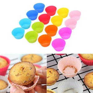 7cm Silicone Muffin Cupcake Moulds cake cup Round shape Bakeware Maker Baking Mold Colorful Tray Baking Cup Liner Molds