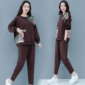 Casual Women Plus Size Anzüge und Sets Brief Großhandel Kleidung Frauen Set Freizeit Frauen Tracksuits Anzug Toppants Set V8OW #
