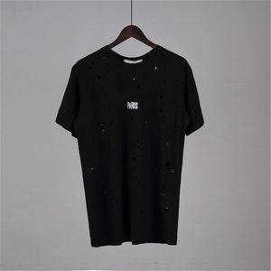 Designer Summer T Shirts Designer Shirt Mens and Women Short Sleeve Hole Shirt C0py Letter Printed Crew Neck Tops Tees S-2XL XY1882205