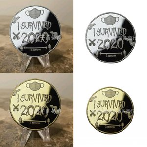 I Survived 2020 Coins Mask Man Woman Pattern Commemorative Coin Gold Silver Plating Circular Sculpture 6jp L2