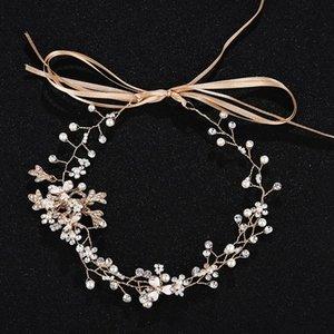 Slbridal à la main strass câblé cristaux perles fleur mariage bandeau de mariée cheveux cheveux vignes accessoires de demoiselles d'honneur