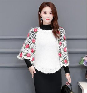Fashion Handwork Knitting Flowers Hollow Sweater Cape Type Pullover Blouse 2020 Spring Sutumn New Listing O-neck Short Sweater