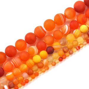 1 Equipamento de 4 6 8 10 12mm laranja Matt Matt Stripe Stripe Stripe Round Beads para Bracelete DIY Máquinas de Jóias Suprimentos H Jllxzm