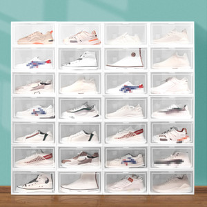 Scatola da scarpe in plastica pieghevole Spaccatura antipolvere antipolvere impilabile shoebox trasparente cassetto ordinabile scarpe armadietto scarpa organizzatore VT1865
