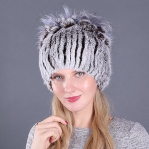 New Russia Women Real Rabbit Fur Hats Knitted Striped Lady 100% Genuine Rabbit Fur Beanies Hat Winter Warm Flowers Caps 201008