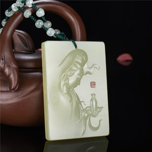 Hetian du Xinjiang vert jade blanc Pendentif Guanyin Afghanistan Blanc Jade Guanyin Pendentif