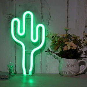 Green Cactus Neon Light Signs Led Decoration Lights Battery Usb Powered Cactus Lamps Neon Signs Light Up Children's Room Bedroom Swy bbyBwx