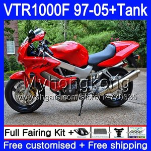 Corpo + serbatoio per Honda SuperHawk Vtr1000F 97 98 02 03 04 05 56hm.101 VTR1000 F VTR 1000 F 1000F 1997 Glossy Red 2002 2003 2004 2005 Fairing