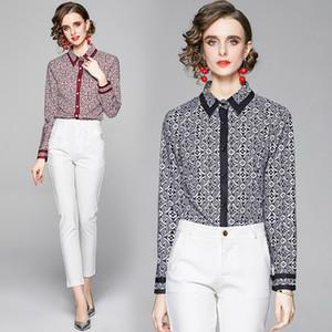 Новые 2021 ВПП Классическая мода Печатная Элегантная Отворота Женские Рубашки С Длинным Рукавом Тонкий Дизайнер Дамы Блузки Повседневная Офисная Кнопка Tops Plus