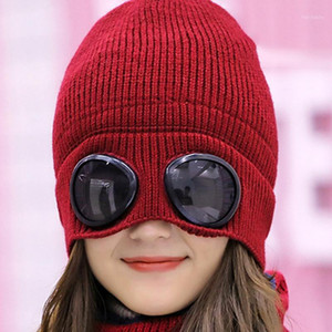 Unisex Winter Knitted Goggles Beanie Leisure Thermal Fluffy Warm Ski Cycling Sports Cap Heat Keeper Ear Snow Cold Protector1