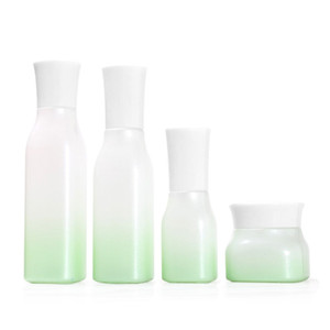 High Quality Gradient Green Glass Liquid Spray Bottle Cosmetic Lotion Pump White Cap Toner Container Empty Face Cream Jar
