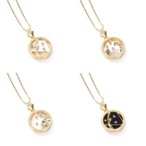 pYFRL Mens jewlery neckla Hip Hop Necklace Shell Necklaces Necklace Pendant Stone Bling Iced Out Twelve Constellations Necklace CZ Jewelry