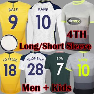 20 21 4th Kane Son Bale Bergwijn توتنهام الرابع كم طويل لكرة القدم الفانيلة 2020 2021 lucas لكرة القدم كيت قميص بيل ndombele قمم أطفال مجموعات