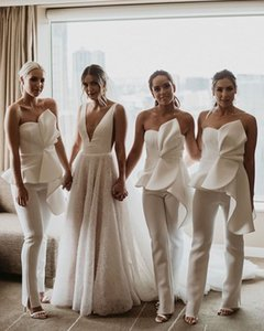 Fashion Jumpsuit Bridesmaid Dresses with Peplum Ruched Sweetheart Wedding Guest Dress Zipper Back Pant Suit Bride Special Occasion Gowns