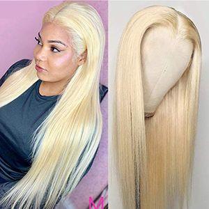150 плотности 13x6x1 кружева передний парик # 613 Отбеленные узлы 8-26 дюймов бразильские девственницы человеческие волосы прямые парики для черных женщин