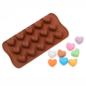 2021 Valentines Day 15 Hole Heart Shaped Cake Chocolate Silicone Mold Mini Diy Kitchen Decorates Tools Weddings Handmade Candy Molds G11303