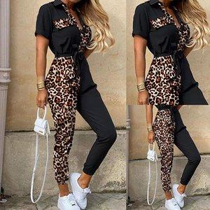 Long Sleeve Leopard Print Painéis corpo macacãozinho Mid cintura Bodysuits Moda Casual Vestuário Feminino Designer Mulheres Macacões