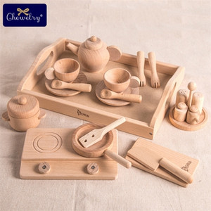 1set Wooden Kitchen Set For Kids Cooking Beech Tea Pots Set Toy Bbq Food 1:12 Kitchen Accessories Montessori Baby Products Gift LJ201211