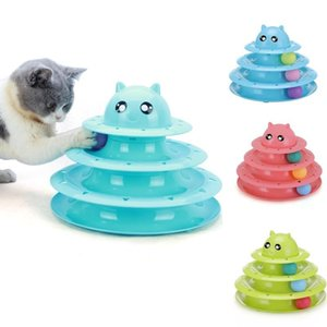Free Shipping Triple Play Plastic Cat Toys Intelligence Ball Disk Interactive Toy For Kitten Cats Funny Pet Playing Toys