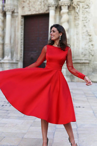 Simple Red Satin Tea Length Prom Dresses Sheer Long Sleeves Backless Women Formal Party Gowns A Line Evening Dress