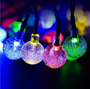 태양 전원 LED 문자열 조명 30 전구 방수 크리스탈 공 크리스마스 문자열 캠핑 야외 조명 가든 홀리데이 파티 8 모드 6.5m