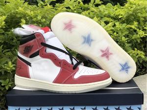 Autêntica ar alto OG 1 Troféu Quarto Chicago 1S White Varsity Vermelho Vela Vermelho Homens Pretos Mulheres Ao Ar Livre Sapatos Esportivos Sapatilhas Com Caixa Original