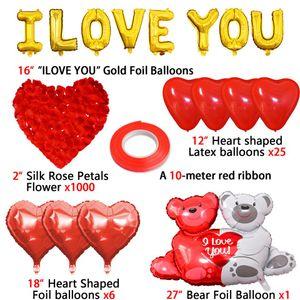 16inch ouro amor carta carta balões de coração balão pendurado presente de urso rosa para o noivado decoração de casamento dia dos namorados decoração 9069