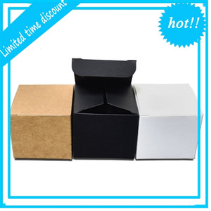 4x4x4cm 3 Colored Kraft Paper Packaging Foldable Face Cream Packing Paperboard Boxes Jewelry Gift DIY Package Box 50pcs lot