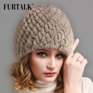 FURTALK Gerçek Vizon Kürk Bere Şapka Kadınlar Için Kış Yumuşak Sıcak Kürk Şapka Rus Kadınlar Kış Örme Bere Şapka Kadın için