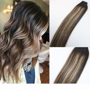 100 gramos de color # 2 # 3 # 27 Rubio resaltado Ombre Hair Balayage Skin Piel Sin fisuras Brasileño Virginal Hair Extensions Cinta en extensiones de cabello