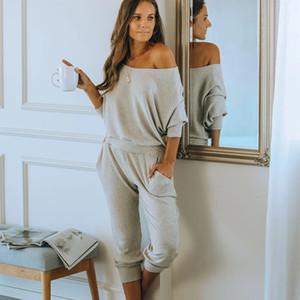 Juli-Song-Song-Pyjamas-Set Frauen Solide Farbe Baumwolle Mischte Langarm Hosen Nachtwäsche Lässige Sports Homewear Weibliche 2010331