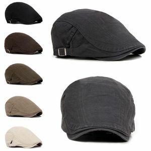 Береты мужская шапка шапка гольф вождения солнца плоские моды хлопковые колпачки для мужчин повседневные пикированные козырьки кабекет