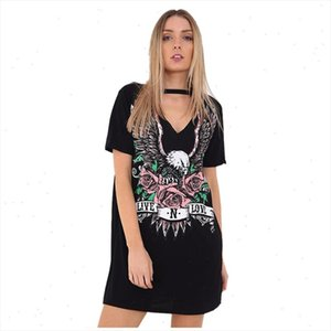 Womens New Fashion Sexy V Neck Dress Print Punk Rock Rose Eagle Halter T Shirt Dress Short Sleeve Casual Loose Summer Mini