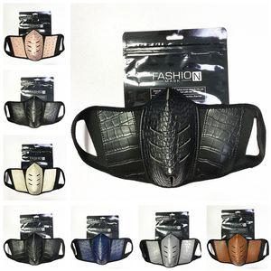 Moda Unisex Face Masks PU Cuero Polvo Anti-Niebla Mascarilla Mascarilla Hombres Mujeres Durable Mascarillas Masas de la boca transpirable al aire libre Mascarilla protectora 2020