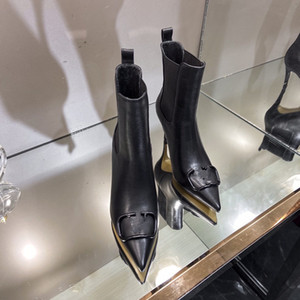 Hot Sale- Designer Genuine Leather Coarse Non-Slip Shoes Fashion Womens Booties Rivet boots size 35-41