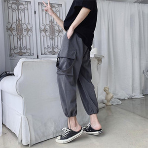 Nice Spring And Autumn Ins Youth Popular Overalls Solid Color Straight Nine Casual Pants In The Low Waist Tide Black M-2XL