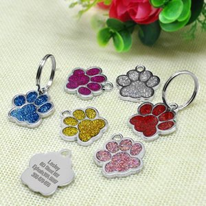 Venta al por mayor Glitter PAW PET DOG ID Etiquetas Accesorios de aseo Personalizado Personalizado Puppy ID Etiqueta para pequeños perros medianos gatos Qyltbq
