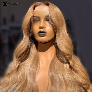 Light Golden Blonde Natural Wave Human Hair Lace Front Wigs for Women Brazilian Human Hair Deep Part Blonde Wigs with Baby