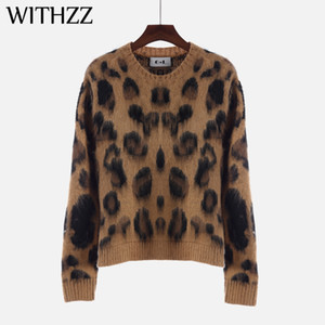 WITHZZ New Arrival Spring Autumn Elegant Casual Round Neck Leopard Print Long Sleeve Sweater Women Autumn Pullovers Sweaters Y200930