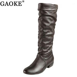 Gaoke Grande Tamanho 2020 Nova Chegada Knee High Women Botas Preto Branco Marrom Liso Salto Half Boots Spring Outono Sapatos Mulher1