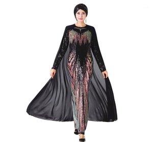 Casual Dresses Muslim Party Dress With Cape Women High Quality Abaya Sequin Embroidery Hijab Long Sleeve Dubai Caftan Robe Islamic1