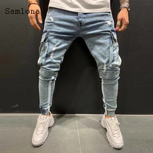 Sauna men's freight lets you lose weight and slim Multi Pocket pants 2020 European and American style bick hip-hop jeans