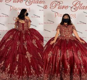 플러스 사이즈 Burgundy Quinceanera Abiti Gowns 2021 높은 목 레이스 업 코르셋 레이스 아플리케 페르시 스윕 열차 졸업복 복장