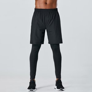 Men Fitness Pants 2-in-1 Elastic Quick-dry Pockets Breathable Running Jogging Tights Workout Athletic Leggings