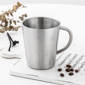 free shipping 320ml coffee mug stainless steel tumbler with handle insulated keep cold beer cup home drinkware KKA1473